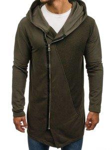 Długa bluza męska z kapturem zielona Denley NRT523