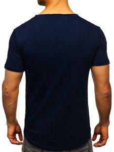 Granatowa bez nadruku koszulka męska w serek Bolf 4049