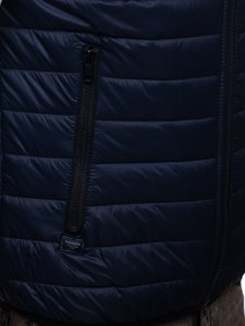 Granatowa pikowana kamizelka męska z kapturem Denley 6701