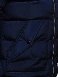 Granatowa pikowana kurtka męska zimowa z kapturem Denley 1181