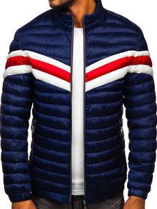 Granatowa pikowana przejściowa kurtka męska sportowa Denley 6574