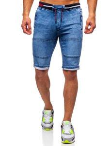 Granatowe krótkie spodenki jeansowe męskie Denley HY768