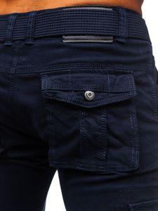 Granatowe spodnie bojówki męskie z paskiem Denley 1672