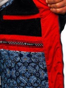 Granatowo-czerwona pikowana kurtka męska zimowa z kapturem Denley M72073