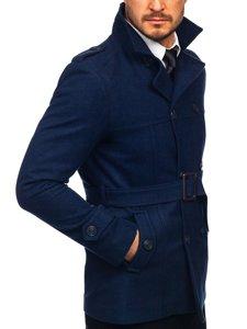 Granatowy płaszcz dwurzędowy z paskiem męski zimowy z wysokim kołnierzem Denley 0009