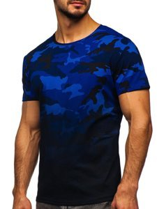Granatowy t-shirt męski z nadrukiem moro Denley S808