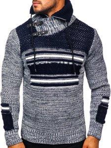 Gruby granatowy sweter męski ze stójką Denley 2001