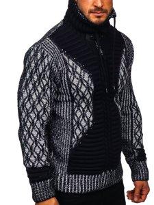 Gruby granatowy sweter męski ze stójką Denley 2008