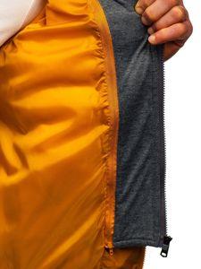 Kamizelka męska pikowana  z kapturem camelowa Denley B2679