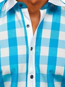 Koszula męska elegancka w kratę z krótkim rękawem turkusowa Bolf 8901