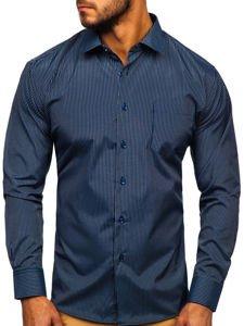 Koszula męska elegancka w paski z długim rękawem granatowa Denley NDT10