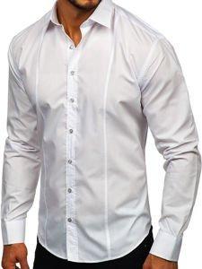 Koszula męska elegancka z długim rękawem biała Bolf 4705G