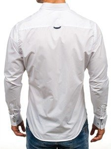 Koszula męska elegancka z długim rękawem biała Bolf 5791
