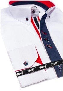 Koszula męska elegancka z długim rękawem biała Bolf 5827-1