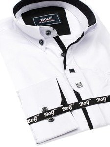 Koszula męska elegancka z długim rękawem biała Bolf 7720