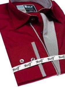 Koszula męska elegancka z długim rękawem bordowa Bolf 4713