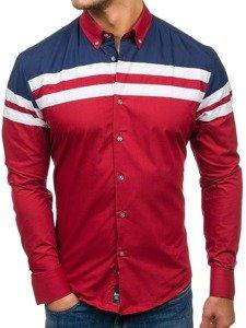 Koszula męska elegancka z długim rękawem bordowa Bolf 6885