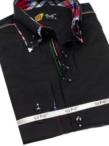 Koszula męska elegancka z długim rękawem czarna Bolf 2705