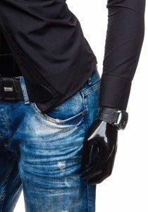 Koszula męska elegancka z długim rękawem czarna Bolf 5819