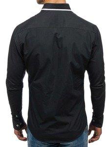 Koszula męska elegancka z długim rękawem czarna Bolf 6857