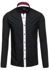 Koszula męska elegancka z długim rękawem czarna Bolf 6951