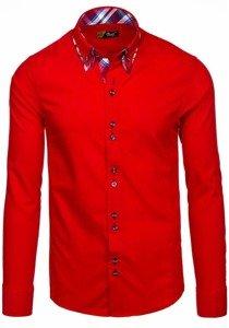 Koszula męska elegancka z długim rękawem czerwona Bolf 4704