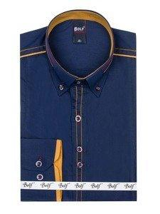 Koszula męska elegancka z długim rękawem granatowa Bolf 4707