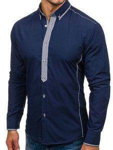 Koszula męska elegancka z długim rękawem granatowa Bolf 5800