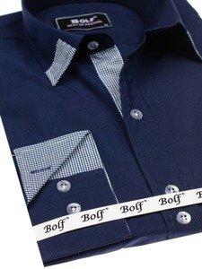 Koszula męska elegancka z długim rękawem granatowa Bolf 6952