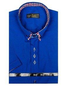 Koszula męska elegancka z krótkim rękawem chabrowa Bolf 3507
