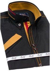 Koszula męska elegancka z krótkim rękawem czarna Bolf 6513