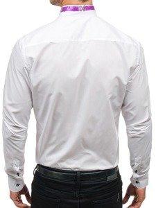 Koszula męska elegancka z muszką z długim rękawem biała Bolf 5786