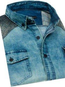 Koszula męska jeansowa we wzory z długim rękawem granatowo-szara Denley 0517-1