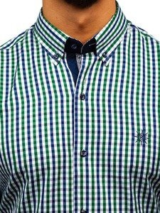 Koszula męska w kratę vichy z długim rękawem zielono-granatowa Bolf 4712