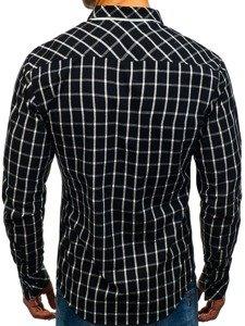 Koszula męska w kratę z długim rękawem czarna Bolf 8825