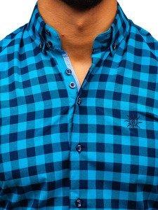 Koszula męska w kratę z długim rękawem morska Bolf 5816-A