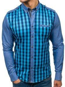 Koszula męska w kratę z długim rękawem morska Bolf 7704