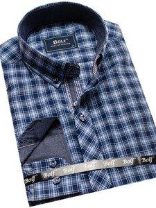 Koszula męska w kratę z długim rękawem niebieska Bolf 8834