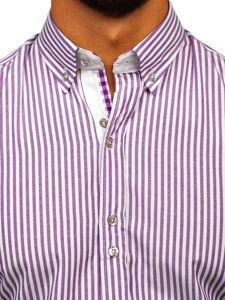 Koszula męska w paski z długim rękawem fioletowa Bolf 9711