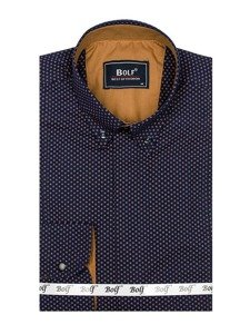 Koszula męska we wzory z długim rękawem granatowo-brązowa Bolf 7715