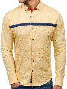 Koszula męska we wzory z długim rękawem żółta Bolf 6903
