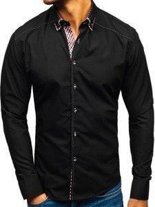 Koszula męska z długim rękawem czarna Bolf 3707
