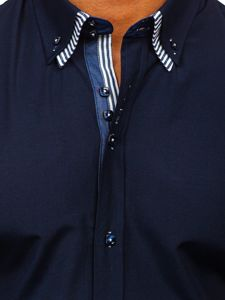 Koszula męska z krótkim rękawem granatowa Bolf 2911