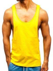 Koszulka tank top męska bez nadruku żółta Bolf 1245