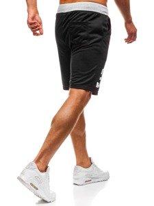 Krótkie spodenki dresowe męskie czarne Denley EX06