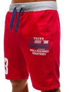 Krótkie spodenki dresowe męskie czerwone Denley EX06