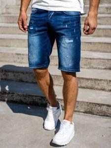 Krótkie spodenki jeansowe męskie granatowe Denley 3001