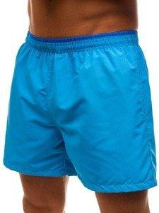 Krótkie spodenki kąpielowe męskie jasnoniebieskie Denley Y768