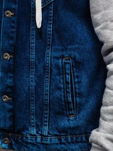 Kurtka jeansowa męska z kapturem granatowa Denley 211902