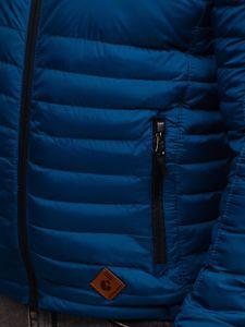 Kurtka męska przejściowa sportowa pikowana niebieska Denley 50A93